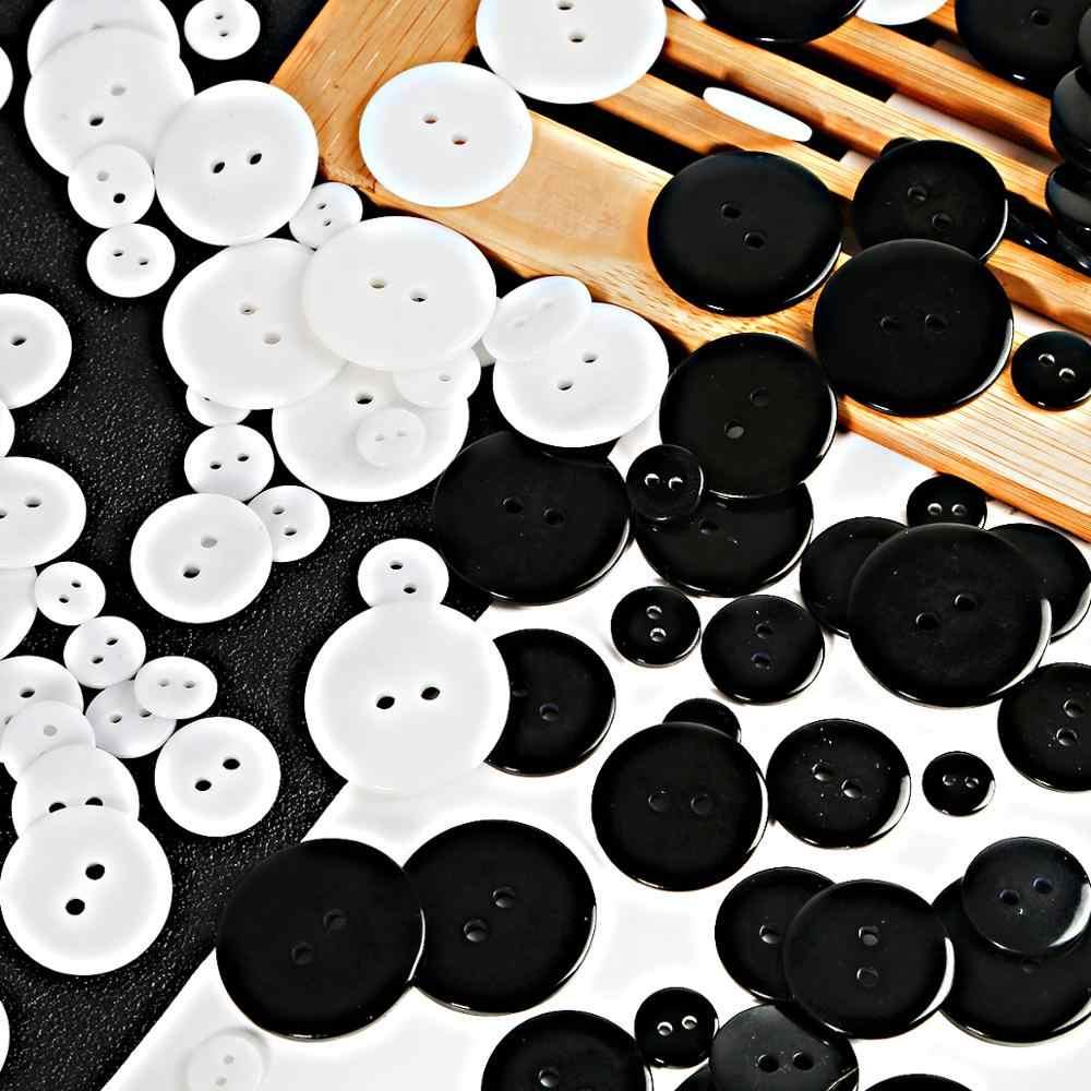 9/11/15/18/20/23/25mm สีดำ/สีขาวรอบปุ่มเรซิ่น 2 หลุมเย็บปุ่ม Scrapbooking หัตถกรรมเสื้อผ้า DIY อุปกรณ์เสริม