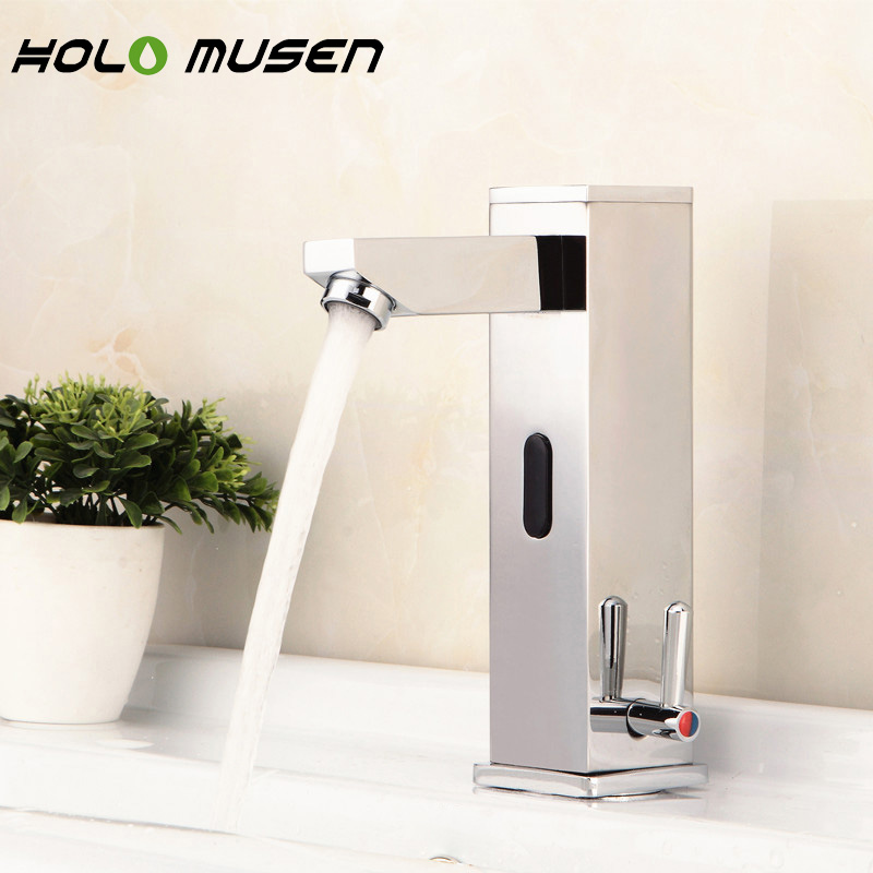 Integrated Hands Free Brass Automatic Infrared Sensor Faucet Hot Cold Bathroom Tap Sensor Touchless Water Saving Faucet Mixer water saving hands free brass hot and cold automatic infrared sensor faucet for bathroom deck mounted touchless sensor tap