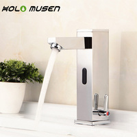 Integrated Hands Free Brass Automatic Infrared Sensor Faucet Hot Cold Bathroom Tap Sensor Touchless Water Saving Faucet Mixer