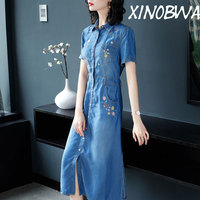 Europe New 2018 Summer Women High Street Fashion Single Breasted Embroidery Turn Down Collar Jeans Dress Ladies Vintage Dresses