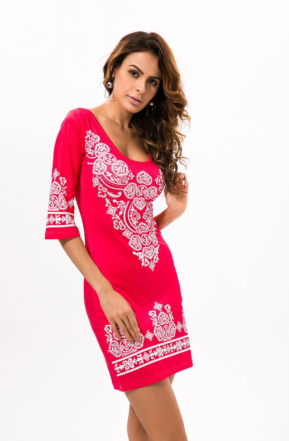 Half Sleeve O-Neck African Dress Summer Casual Print
