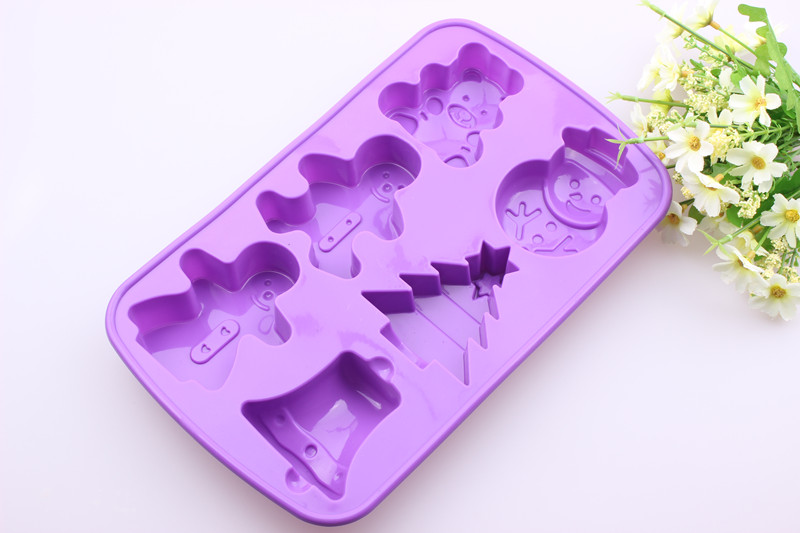 Silicone Mold 6 Cavities Christmas Bell Sknowman Tree Ice Chocolate Making Tools Cake Candy Soap Cake Decorating Tools in Cake Molds from Home Garden