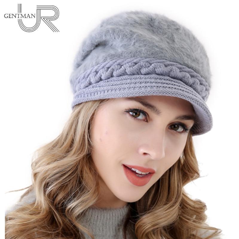 New Women Warm Hat Rabbit Fur Winter Hats For Women Ladies Add Fur Lined Bonnet Cap Wool Fahion Knitted Hat(China)