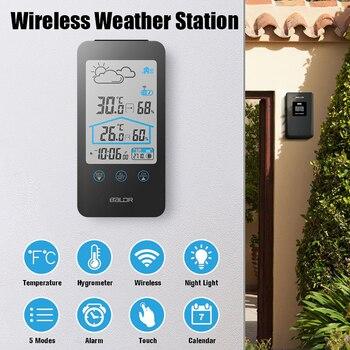 Baldr Nirkabel LCD Digital Indoor Outdoor Thermometer Hygrometer Prakiraan Cuaca Station Alarm Clock dengan Sensor Suhu