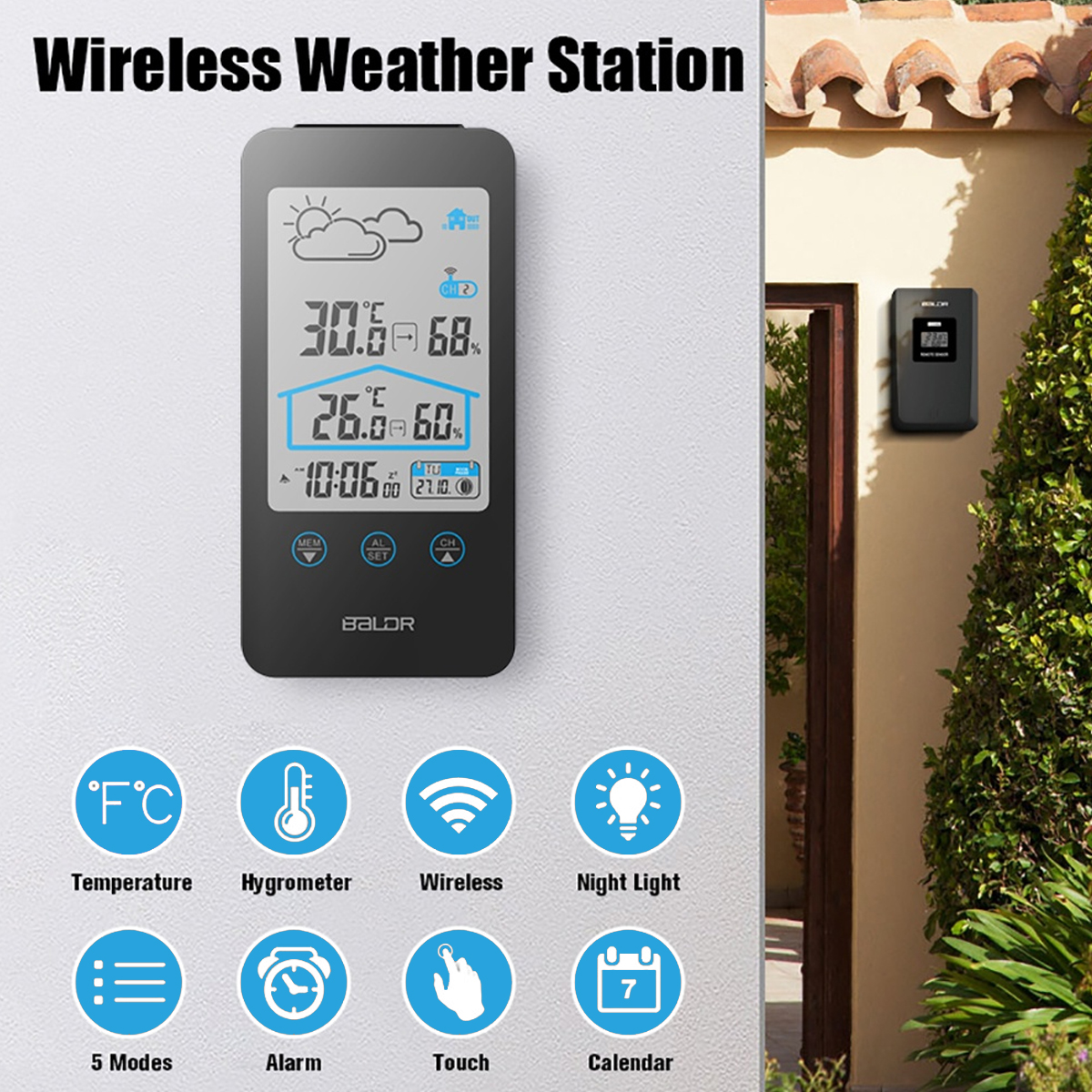 Baldr Wireless LCD Digital Indoor Outdoor Thermometer Hygrometer Weather Forecast Station Alarm Clock with Temperature Sensor 1 9 mini digital lcd indoor outdoor thermometer with clock 50 70 c 1 lr44