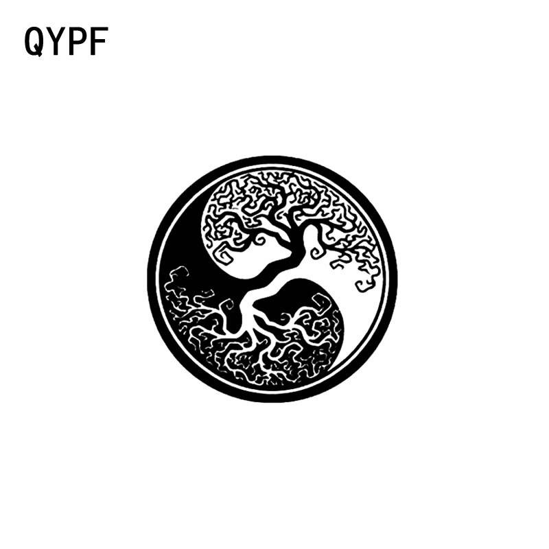 QYPF 17,8 см * 17,8 см, корень дерева Инь и Ян, Виниловая наклейка для автомобиля и мотоцикла, наклейка, черный, серебристый цвет