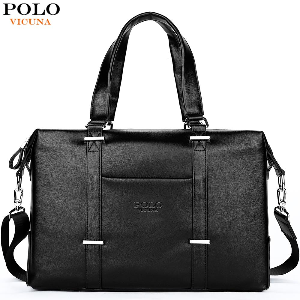 VICUNA POLO Men Travel Duffle Bag PU Leather Men s Travel Bags Black Shoulder Handbag Brand