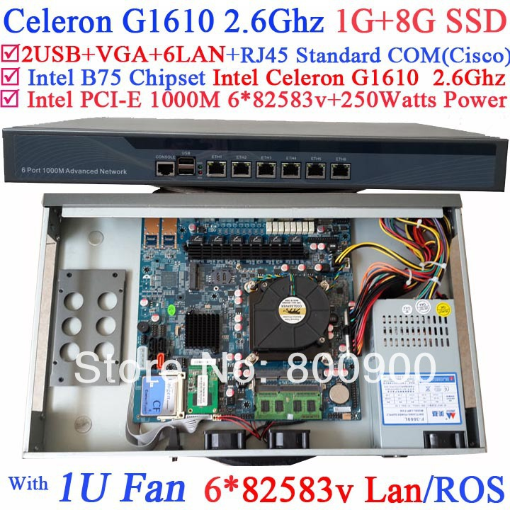 rack server Firewall router with Intel B75 Chip Intel Celeron G1610 2.6G CPU 6*1000M 82583v Lan Wayos ROS support 1G RAM 8G SSD