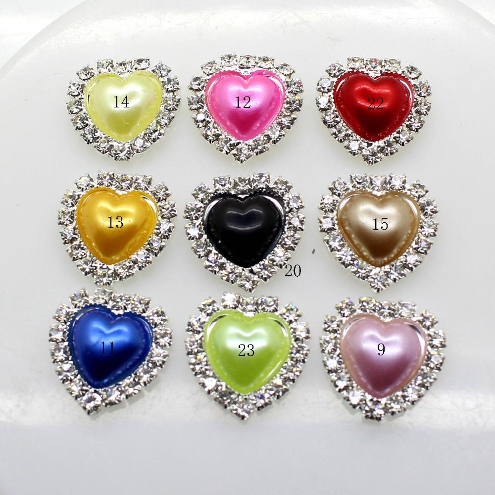 ZMASEY HOT MIX 10PCS/LOT 18mm heart Flat Back Rhinestone button Crystal DIY Wedding Invitation gail hair Flower Accessory image