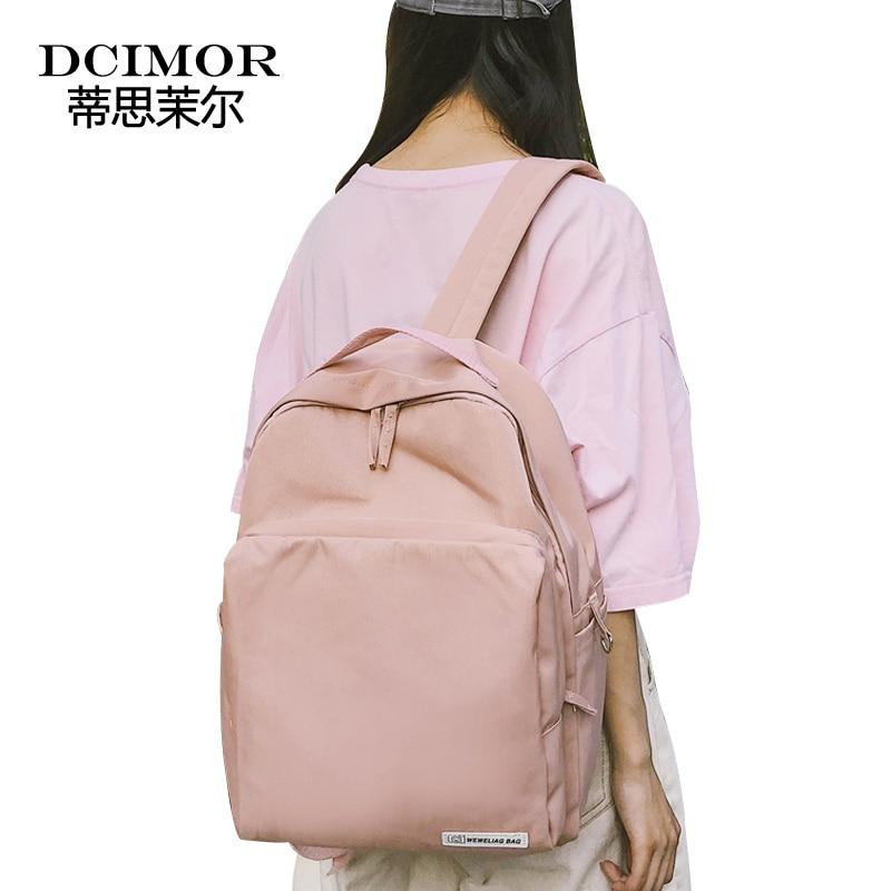 где купить DCIMOR Laptop Backpack College Student School Backpack for Teenager Girls Canvas Women Backpack Feminine Travel Bagpack Mochila дешево