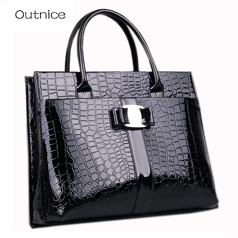 Italian Fashion Top-handle Bags Luxury Handbags Women Bags Designer Patent Leather Shoulder Bag canta sac a main femme de marque 2016 fashion women alligator top handle wristlets bag female dress handbag sac a main femme de marque luxe cuir shoulder bags
