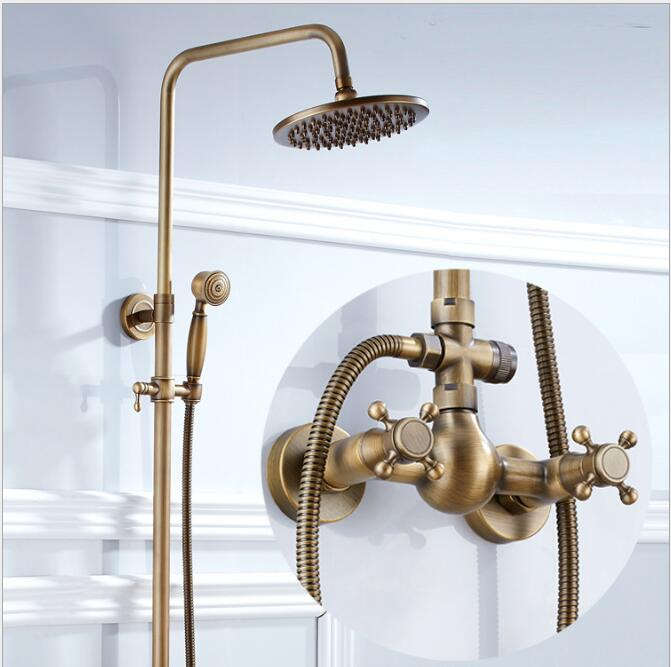 New Luxury Antique Brass Rainfall Shower Sets Faucet Mixer Tap Antique bronze Shower Faucet Brass new luxury classical antique bronze push down pop up drainer waste without overflow