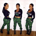New! 2016 Hot Sell  European and American Style Sexy Dew Waist Black Top Green Trousers Two-piece Fission Suits