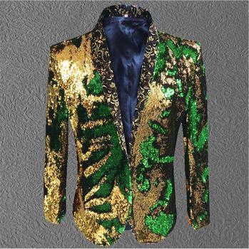Chaqueta para DJ hombres lentejuelas oro Blazer verde hombres abrigo de traje de disfraz de hombre de novio de boda Boda de traje cantante negro etapa