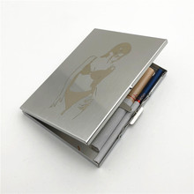 Pocket Cigarette Organizer Sexy Girl Stainless Steel Cigarette Case Ultra Thin Metal