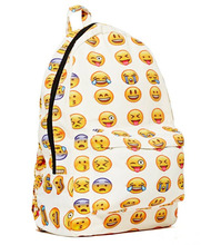 Cartoon Smiley Emoji Face Printed Students School Bag Shoulder Bags Big Backpacks For Teens Girls