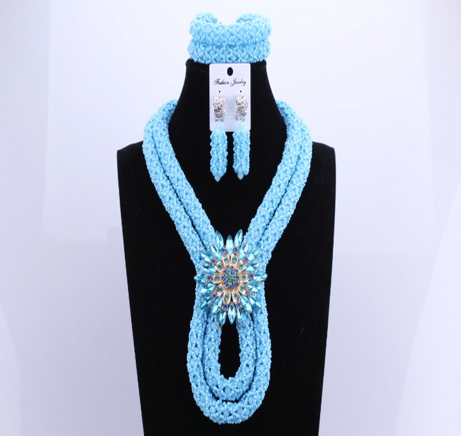 2017 Blue African Crystal beads Necklace Set Two Layers Big Design Costume Nigerian Wedding African Beads Jewelry Set2017 Blue African Crystal beads Necklace Set Two Layers Big Design Costume Nigerian Wedding African Beads Jewelry Set