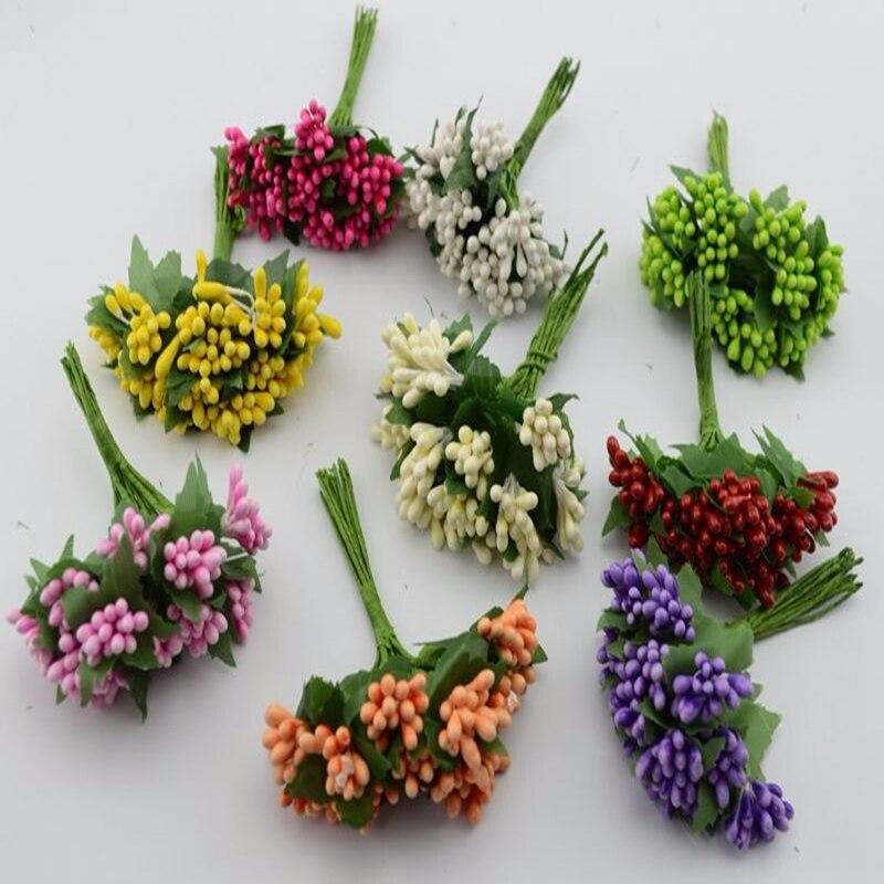 12pcs lot Artificial Flowers Mulberry Stamen Pistils Wedding Supplies Beads Flower Diy Handmade Scrapbooking Decoration