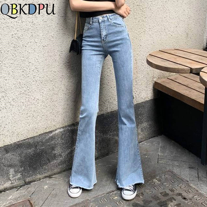 Mom Black High Waist Flare Jeans Boyfriend Bell Bottom Denim Skinny Woman's Jeans Female Wide Leg Vintage Jeans Plus Size XL(China)