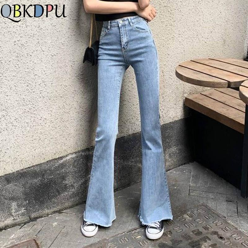 Mom Black High Waist Flare Jeans Boyfriend Bell Bottom Denim Skinny Woman's Jeans Female Wide Leg Vintage Jeans Plus Size XL