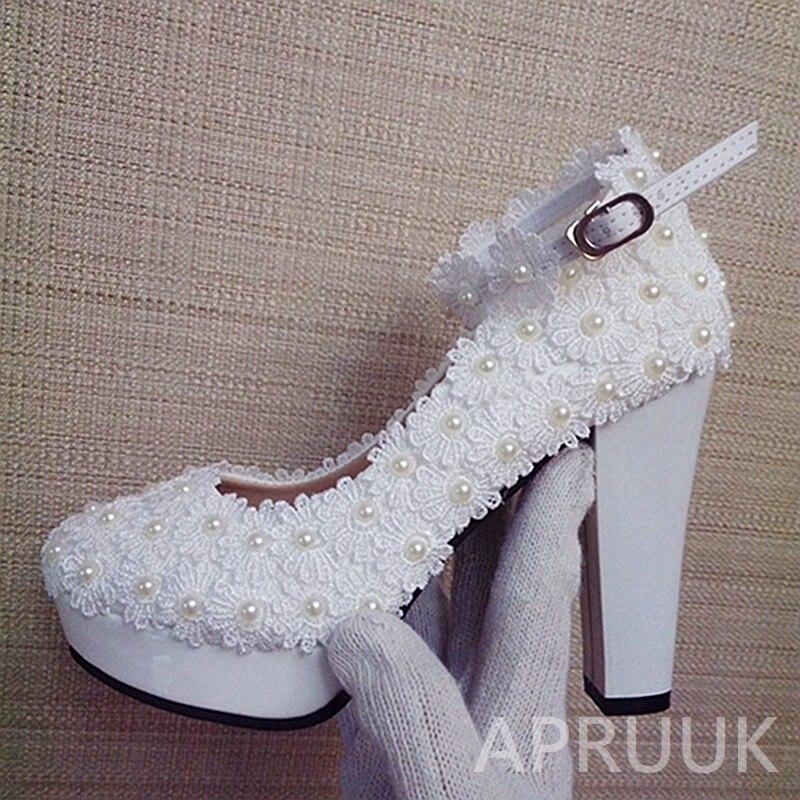 11 CM super haute bloc talons dentelle mariage chaussures mariée ivoire dentelle perles cheville sangles de mariée dames parti plates-formes pompes chaussure