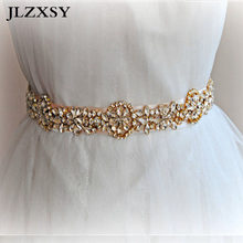 JLZXSY Gold Fashion Flower Handmade Crystal Rhinestone Wedding Belts Bridal  Sash Belts Fashion Bridal Sashes (17 0.8inches) d36a3b0d3f27