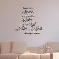 女の子の引用ウォールステッカーインスピレーションマリリン·モンロー見積もり壁デカールガールズルーム壁引用符カットビニールステッカーq134