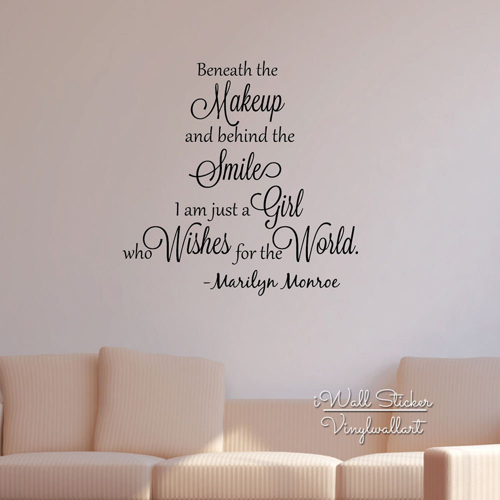 US $14.57 19% OFF|Girls Quote Wall Sticker Inspirational Marilyn Monroe  Quote Wall Decal Girls Room Wall Quotes Cut Vinyl Stickers Q134-in Wall ...