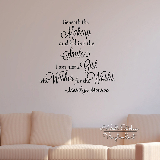 Girls quote wall sticker inspirational marilyn monroe quote wall decal girls room wall quotes cut vinyl