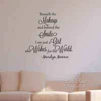 Girls Quote Wall Sticker Inspirational Marilyn Monroe Quote Wall Decal Girls Room Wall Quotes Cut Vinyl Stickers Q134