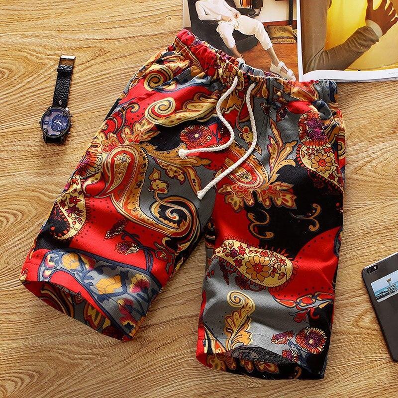 2018 Summer Mens   Shorts   , Fashion Designer plus size Print   Shorts   Men . European-style Men's Comfortable Breathable Loose   Shorts