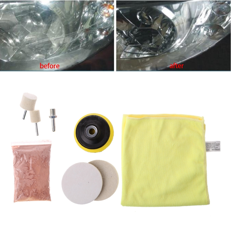 8 Pcs Car Glass Windshield Rear Side Window Scratch Remover Polishing Pads Repair Kit