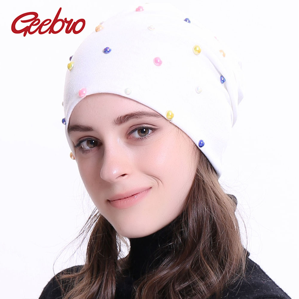 Geebro New Women's   Beanie   Hat 2018 Autumn Multicolor Pearl Slouchy   Skullies     Beanies   for Female Womens Plain Balaclava Bonnet