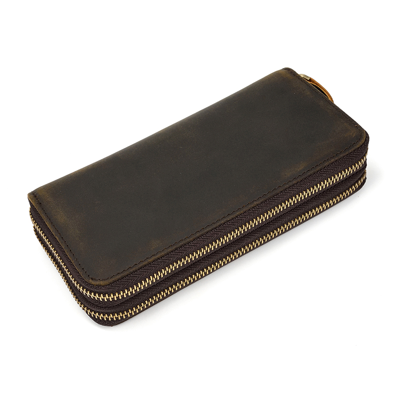MAHEU Brand Designer Retro Real Leather Wallet Male Business Casual With Double Zipper Cow Skin Crazy Horse Wallet With Wristlet
