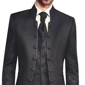 Image 3 - Черная Туника смокинг для жениха для свадьбы ретро приталенные мужские костюмы с воротником стойкой двубортный комплект из 3 предметов пиджак брюки жилет