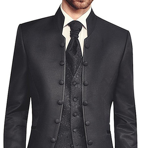 Image 3 - Black Tunic Groom Tuxedos for Wedding Retro Slim Fit Men Suits with Stand Collar Double Breasted 3 Piece Set Jacket Pants Vest