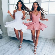2019 summer solid color white  backless strap sexy dress mini tank elegant explosion slim skirt clothes vintage