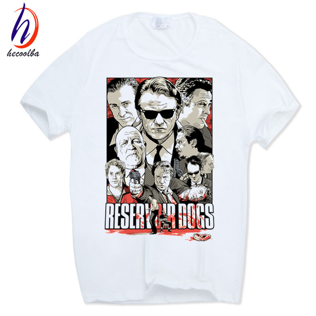 2017 Hecoolba Reservoir Dogs Quentin Tarantino Cópia Branca T-shirt de manga Curta O-pescoço Harajuku Homme Casual Cool Tshirt HCP449