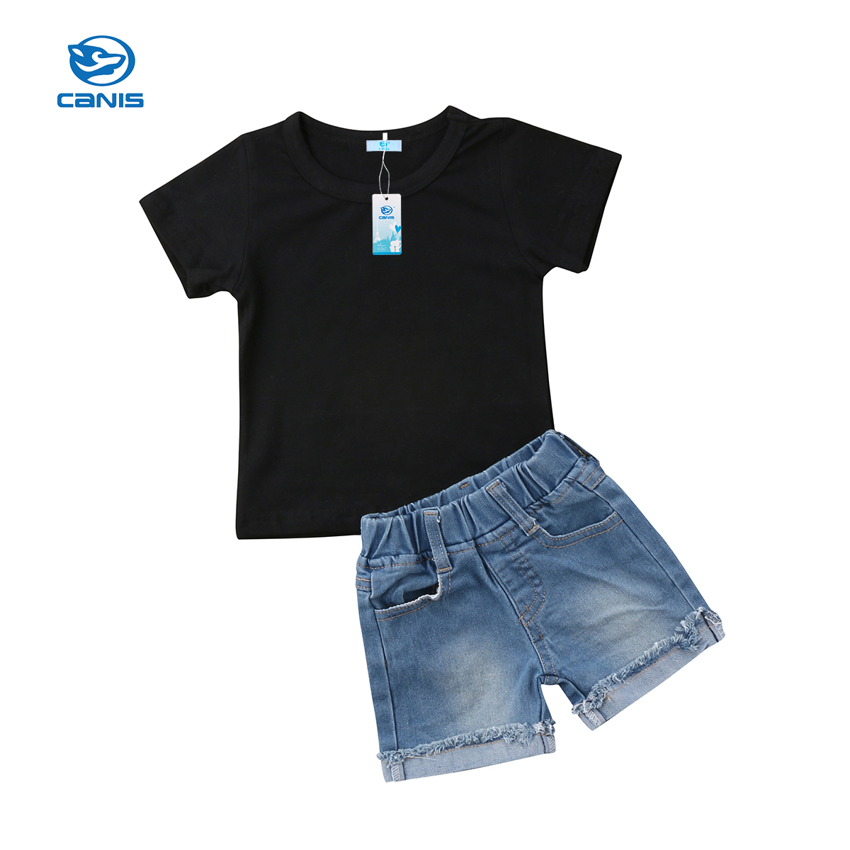 2018 Brand New Toddler Infant Casual Kids Baby Boys Short Sleeve Tops T-Shirt+Denim Shorts Jeans Children Summer Clothing 1-6T