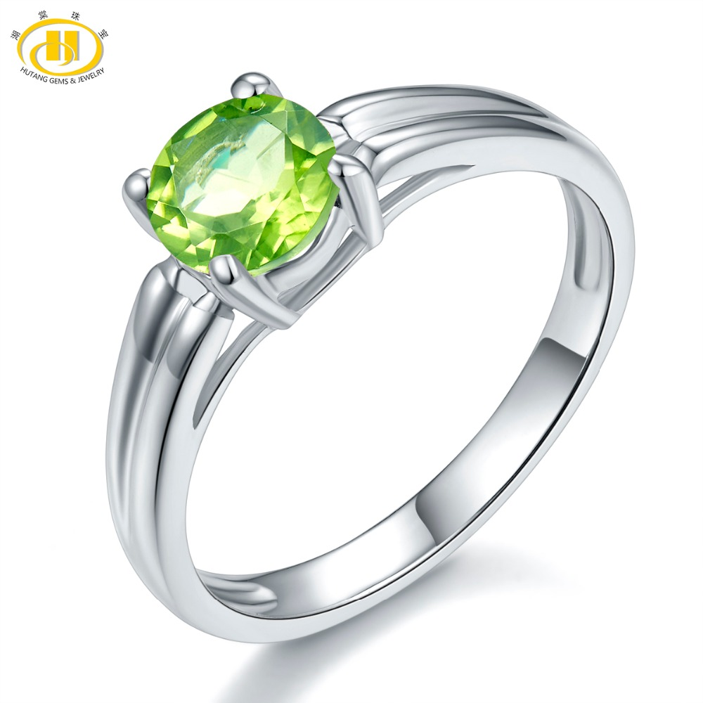 Hutang 100% Natural Peridot 6mm Gemstone Rings Genuine Pure 925 Sterling Silver Ring Fine Fashion Jewelry For Women's Best Gift