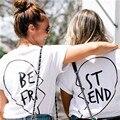 Melhores Amigos T Shirt Mulheres Tops 2017 Verão Mulheres Casuais camiseta de manga Curta Soltas T Shirt Mulher Carta de Impressão Branco T-shirt