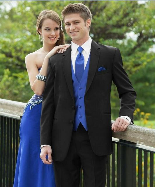 1a6545adf New Arrival 2017 Royal Blue Vest Groom Tuxedos Tow Buttons Groomsmen Mens  Wedding Party Suits( Jacket+Pants+Vest+Tie)