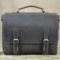 Steelsir New Foreign Trade Import Men Retro Crazy Horse Leather Bags Men Business Briefcase 15 Inches Big Capacity Laptop Bags