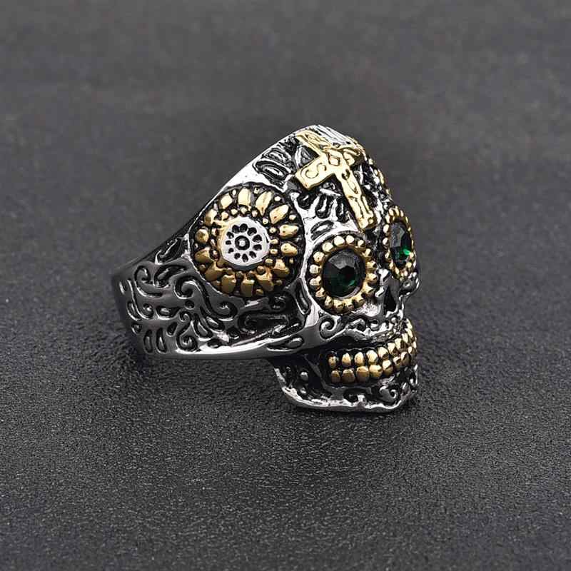 Jiayiqi Punk Gothic ไทเทเนียมสแตนเลสเหล็กหล่อ Skull CROSS แหวนสีเขียว CZ ตาสำหรับชายเครื่องประดับ VINTAGE BIKER PARTY ของขวัญ