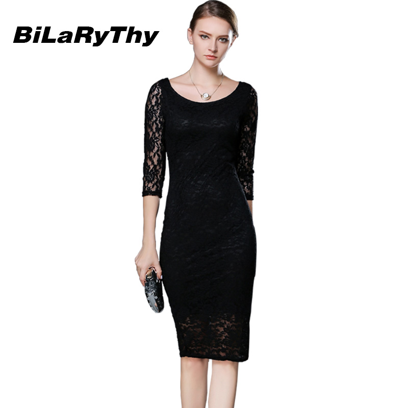 Women Black Lace Autumn Dress Ladies Three Quarter Pencil Wrap
