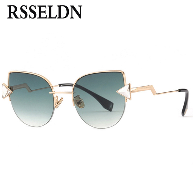 RSSELDN Mode Triangle Cristal Cat Eye lunettes de Soleil Femmes Demi-Trame  Métallique Marque Designer 51d287e1e4a6