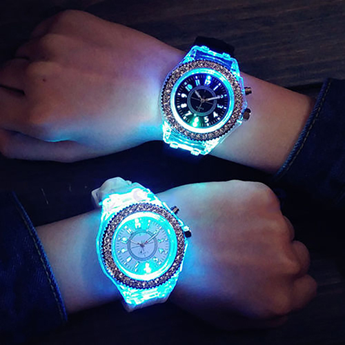Men Women Geneva Sports Waterproof LED Backlight Silicone Band Quartz Wrist Watch super speed v0169 fashionable silicone band men s quartz analog wrist watch blue 1 x lr626