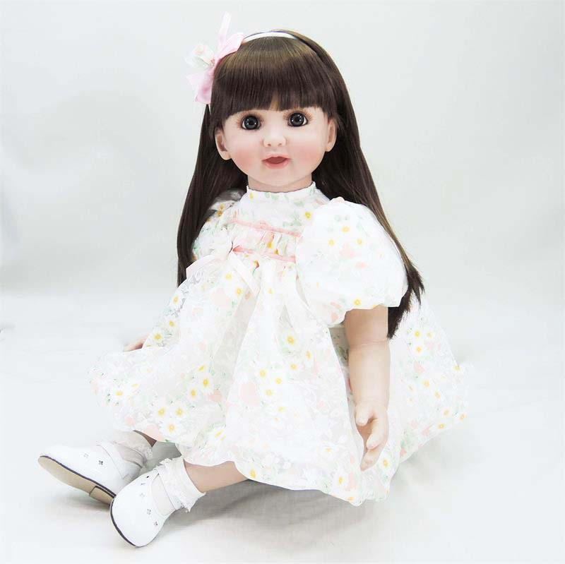 60cm silicone reborn baby doll toy lifelike 24inch vinyl princess toddler girl babies doll realistic child birthday gift present new arrived vinyl lifelike princess doll 45cm girl dress up children toy birthday present