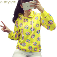 Cute Donut Print Pullovers 2015 Autumn Women Hoodies Sweatshirts Yellow Large Size M XL Sudaderas Mujer