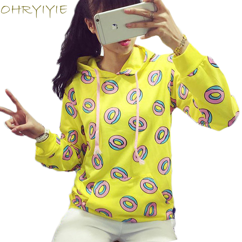 OHRYIYIE Spring Autumn Fashion Donuts Hoodies Women Kpop BTS Loose Sweatshirt Female Harajuku Yellow Hooded Sweatshirts Femme